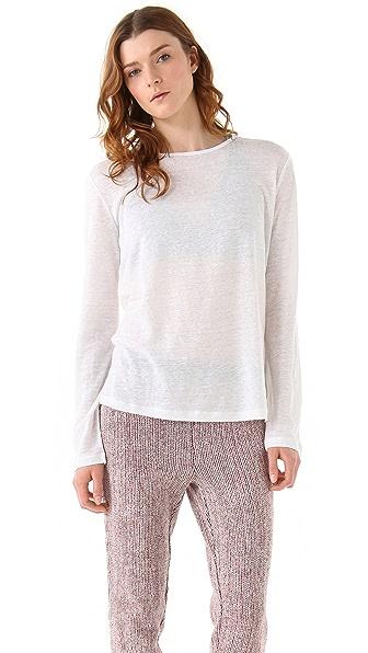 T by Alexander Wang Linen Silk Jersey Long Sleeve Sweater