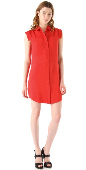T by Alexander Wang Silk & Mesh Combo Shirtdress