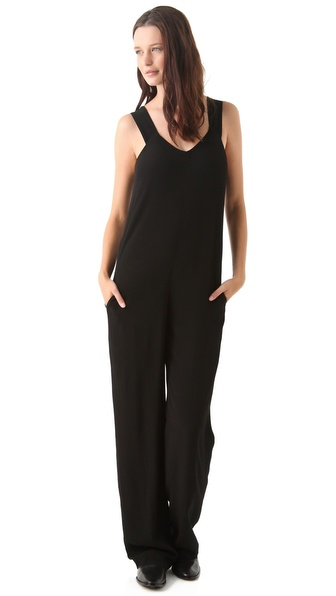 T by Alexander Wang Crepe Wide Leg Jumpsuit