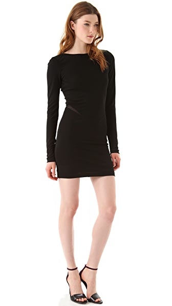 T by Alexander Wang Mesh Insert Boat Neck Dress