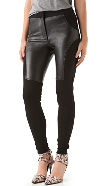 T by Alexander Wang Ponte & Leather Combo Skinny Pants