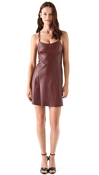 T by Alexander Wang Leather Spaghetti Strap Mini Dress