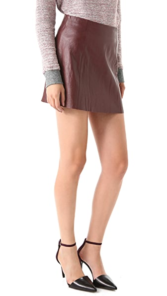T by Alexander Wang Leather A Line Miniskirt
