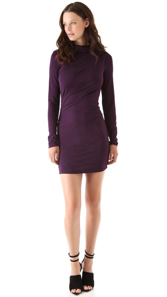 T by Alexander Wang Hooded Long Sleeve Drape Dress