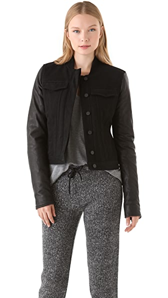 T by Alexander Wang Jean Jacket with Leather Sleeves