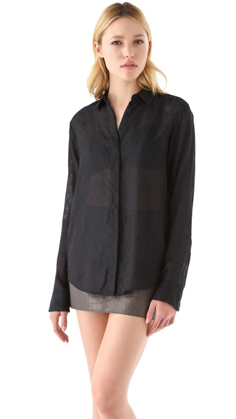T by Alexander Wang Jacquard Mesh Shirt