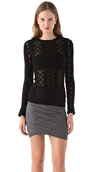 T by Alexander Wang Cable Mesh Top with Velvet Trim