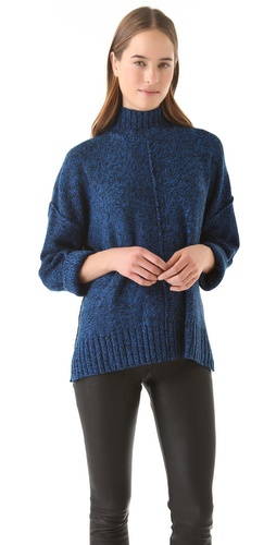 T by Alexander Wang Marled Boxy Sweater with Mock Neck