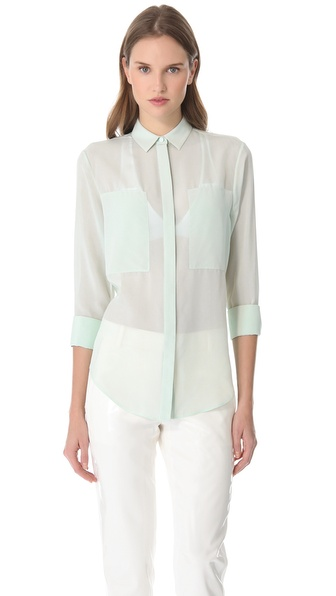 T by Alexander Wang Silk Chiffon Combo Shirt