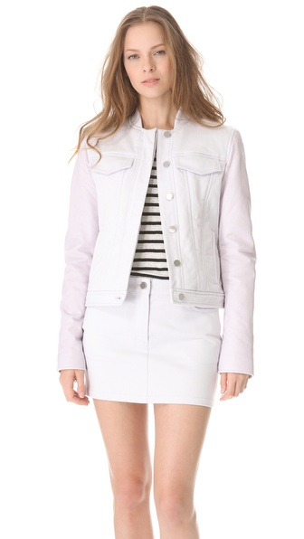 T by Alexander Wang Pastel Jean Jacket with Leather Sleeves