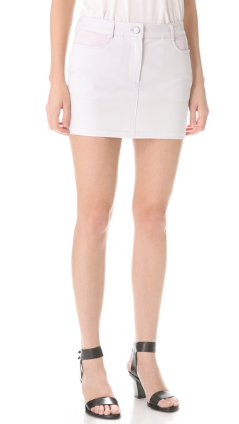 T by Alexander Wang Leather Yoke Twill Miniskirt