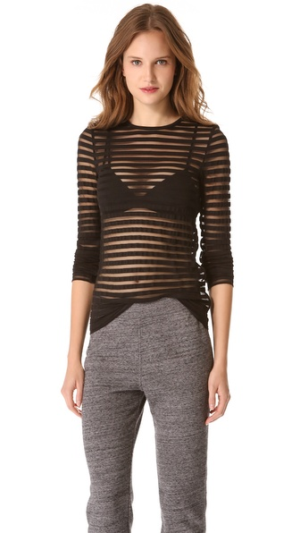 T by Alexander Wang Shadow Stripe Long Sleeve Tee