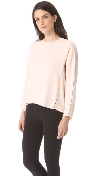 T by Alexander Wang Long Sleeve Lattice Stitch Top