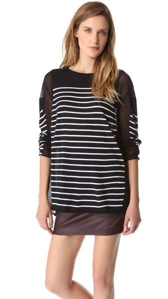 T by Alexander Wang Striped Panel Sweater with Long Sleeves