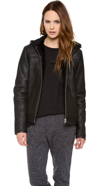 T by Alexander Wang Curly Shearling Jacket with Hood