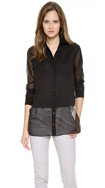 T by Alexander Wang Heathered Chiffon Blouse