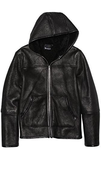 T by Alexander Wang Reversible Shearling Zip Up Hoodie