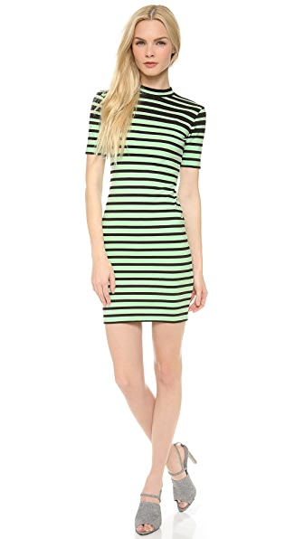 T by Alexander Wang Engineer Stripe Short Sleeve Dress