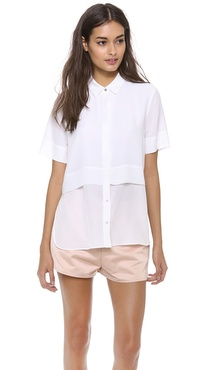 T by Alexander Wang Silk Chiffon Combo Short Sleeve Top