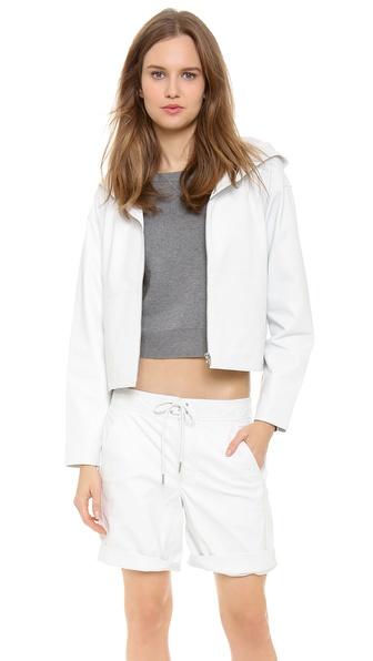 T by Alexander Wang Cropped Leather Hooded Jacket