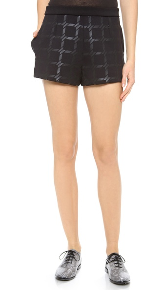 T by Alexander Wang Grid Gel Print Neoprene Shorts