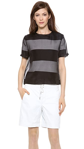 T by Alexander Wang Organza Overlay Striped Knit Tee