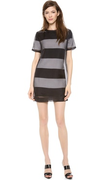 T by Alexander Wang Organza Overlay Striped Knit Tee Dress