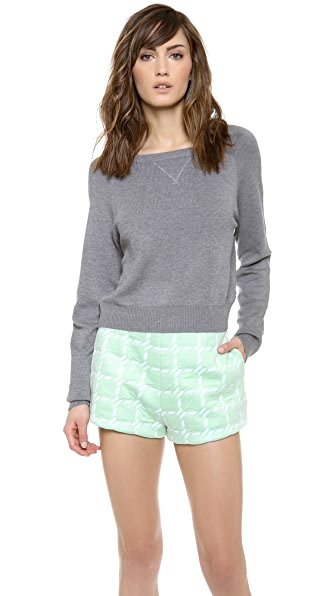 T by Alexander Wang Waffle Seedstitch Cropped Pullover