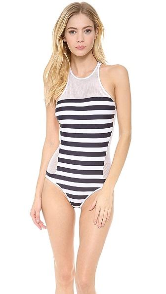 T by Alexander Wang Stripe Mesh Combo One Piece Swimsuit