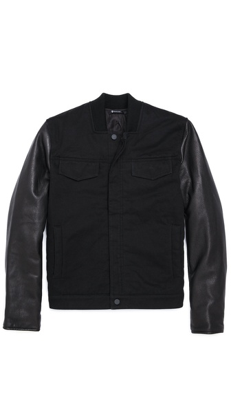 T by Alexander Wang Twill Jean Jacket with Leather Sleeves