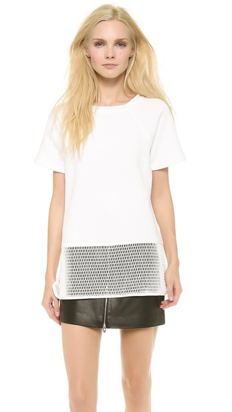 T by Alexander Wang Short Sleeve Tee with Mesh
