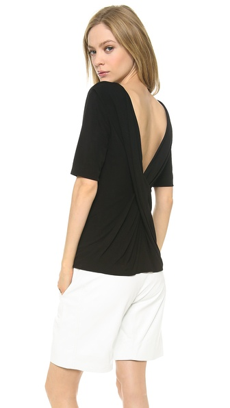 T by Alexander Wang Short Sleeve Top with Draped Back