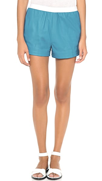 T by Alexander Wang Leather Shorts with Elastic Waist
