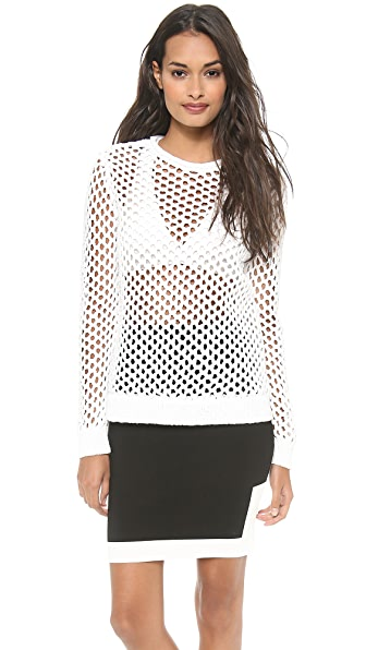 T by Alexander Wang Open Knit Crew Neck Pullover