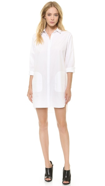 T By Alexander Wang Cotton Poplin Long Sleeve Shirtdress - White