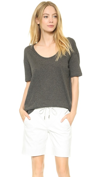 T by Alexander Wang Lightweight Low Neck Short Sleeve Tee