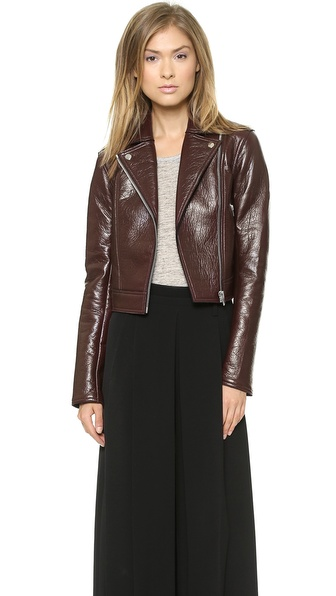 T by Alexander Wang Leather / Fleece Motorcycle Jacket