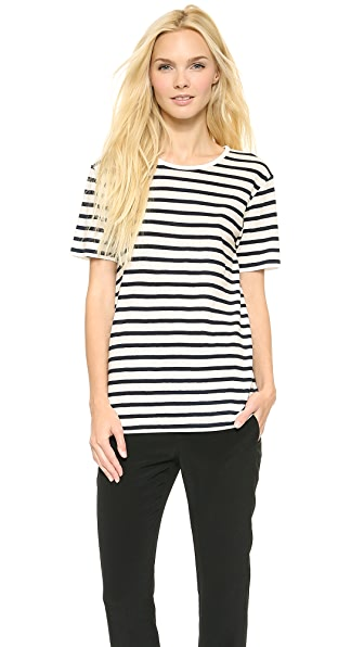 T by Alexander Wang Stripe Linen Cotton Tee