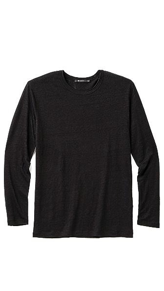 T by Alexander Wang Long Sleeve Linen T-Shirt