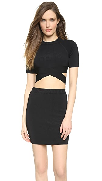T by Alexander Wang Stretch Rayon Crisscross Short Sleeve Top