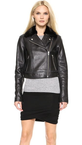 T by Alexander Wang Leather Motorycle Jacket with Fur Collar