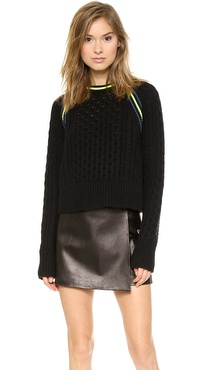 T by Alexander Wang Aran Knit Crop Pullover