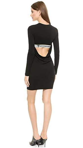 T by Alexander Wang Drape Back Long Sleeve Dress