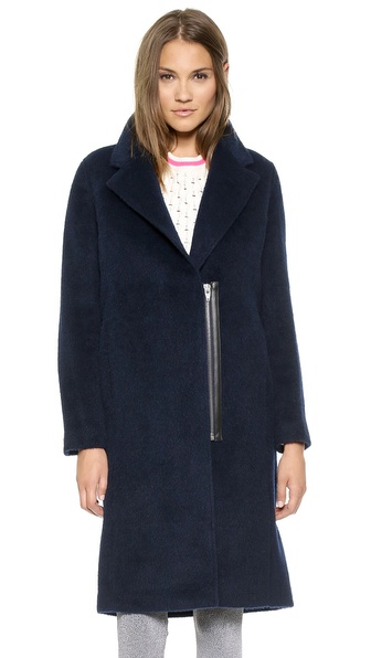 T by Alexander Wang Felt Long Car Coat