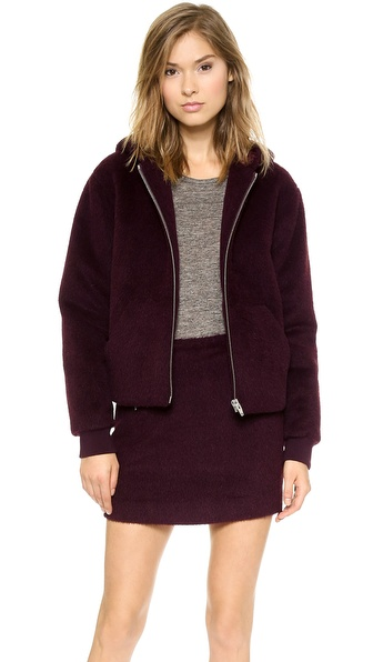 T by Alexander Wang Felt Hooded Cropped Jacket