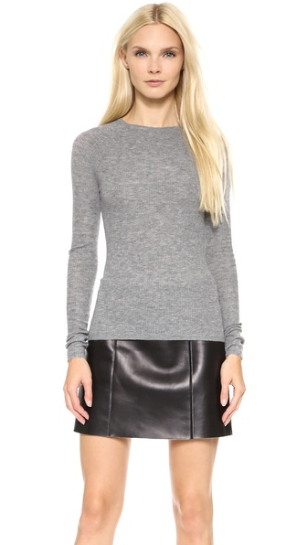 T by Alexander Wang Ribbed Long Sleeve Fitted Pullover