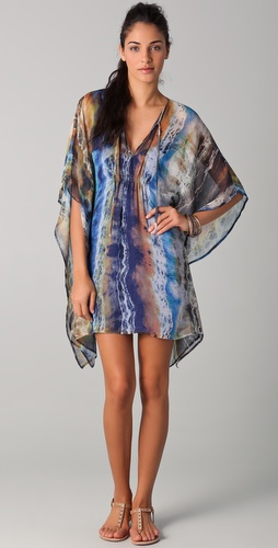 Twelfth St. by Cynthia Vincent Printed Shirred Caftan Dress