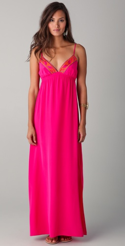 Twelfth St. by Cynthia Vincent Embroidered Maxi Slip Dress
