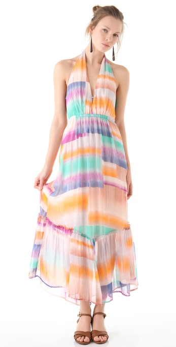 Twelfth St. by Cynthia Vincent Halter Ruffle Midi Dress