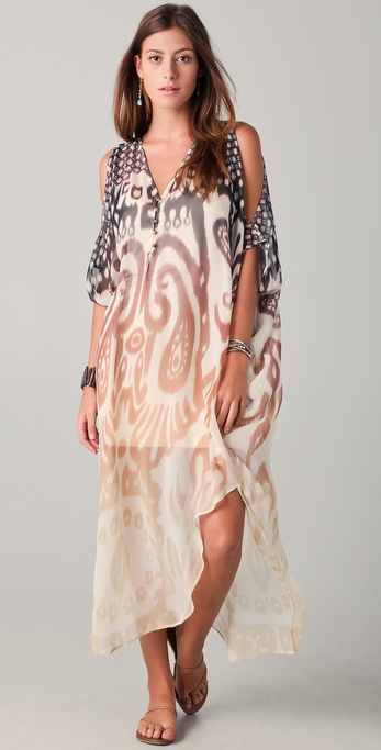 Twelfth St. by Cynthia Vincent Cold Shoulder Maxi Caftan Dress